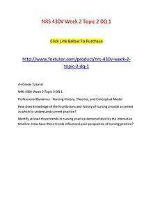 NRS 430V Week 2 Topic 2 DQ 1