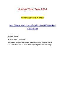 NRS 430V Week 2 Topic 2 DQ 2