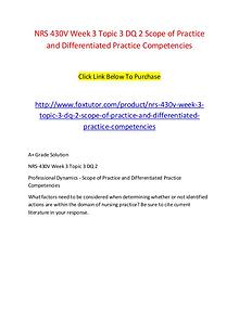 NRS 430V Week 3 Topic 3 DQ 2 Scope of Practice and Differentiated Pra