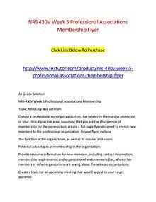 NRS 430V Week 5 Professional Associations Membership Flyer