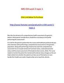 NRS 434 week 5 topic 1