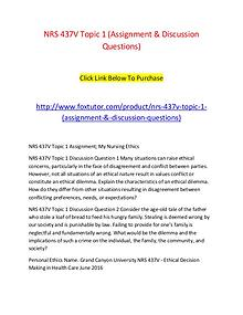 NRS 437V Topic 1 (Assignment & Discussion Questions)