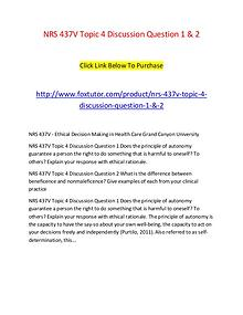 NRS 437V Topic 4 Discussion Question 1 & 2