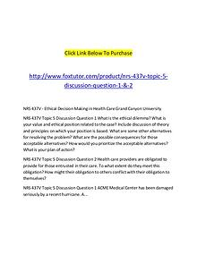 NRS 437V Topic 5 Discussion Question 1 & 2