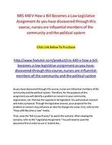 NRS 440 V How a Bill Becomes a Law Legislative Assignment As you have