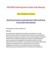 NRS 440V Combining Nurse Leader with Advocacy