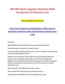 NRS 440V Week 4 Legislative Worksheet (SBAR Format) How a Bill Become