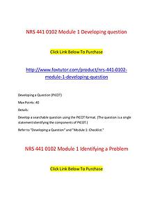 NRS 441 All Assignments