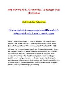 NRS 441v Module 1 Assignment 3; Selecting Sources of Literature