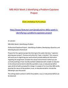 NRS 441V Week 1 Identifying a Problem Capstone Project
