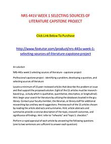 NRS 441V WEEK 1 SELECTING SOURCES OF LITERATURE CAPSTONE PROJECT