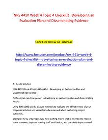 NRS 441V Week 4 Topic 4 Checklist   Developing an Evaluation Plan and