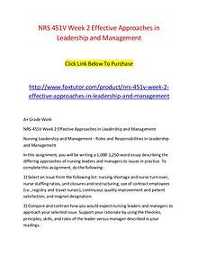 NRS 451V Week 2 Effective Approaches in Leadership and Management