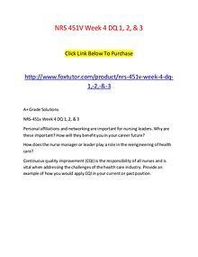 NRS 451V Week 4 DQ 1, 2, & 3