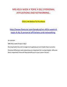 NRS 451V WEEK 4 TOPIC 4 DQ 2 PERSONAL AFFILIATIONS AND NETWORKING..