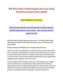 NRS 451V Week 5 Health Organization Case Study   The Military Health