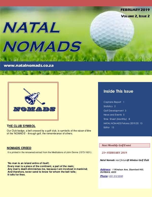 NATAL NOMADS Golf Club Monthly issue Newsletter  Umhlali Golf Club  February  2019