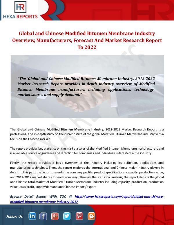 Modified Bitumen Membrane Industry