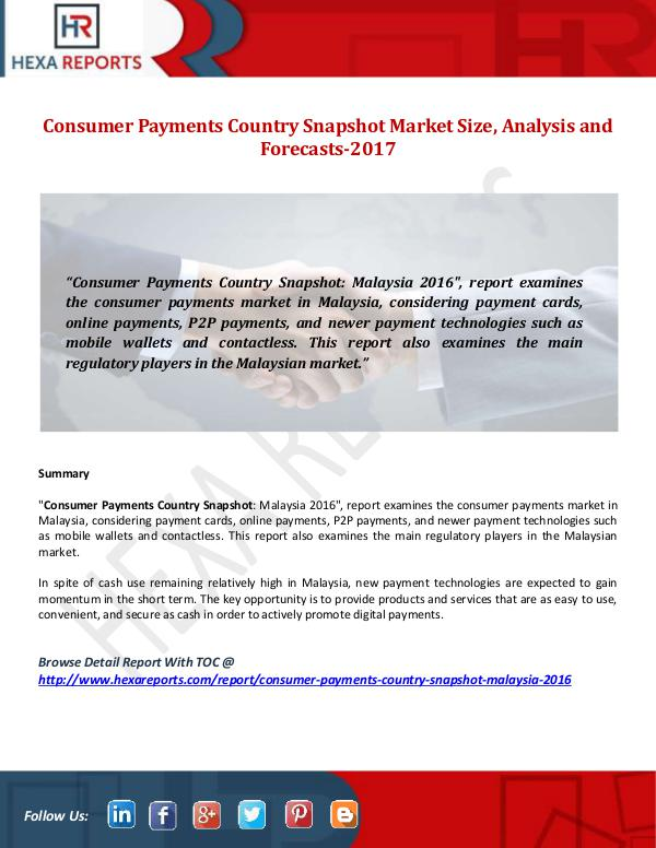 Consumer Payments Country Snapshot Market