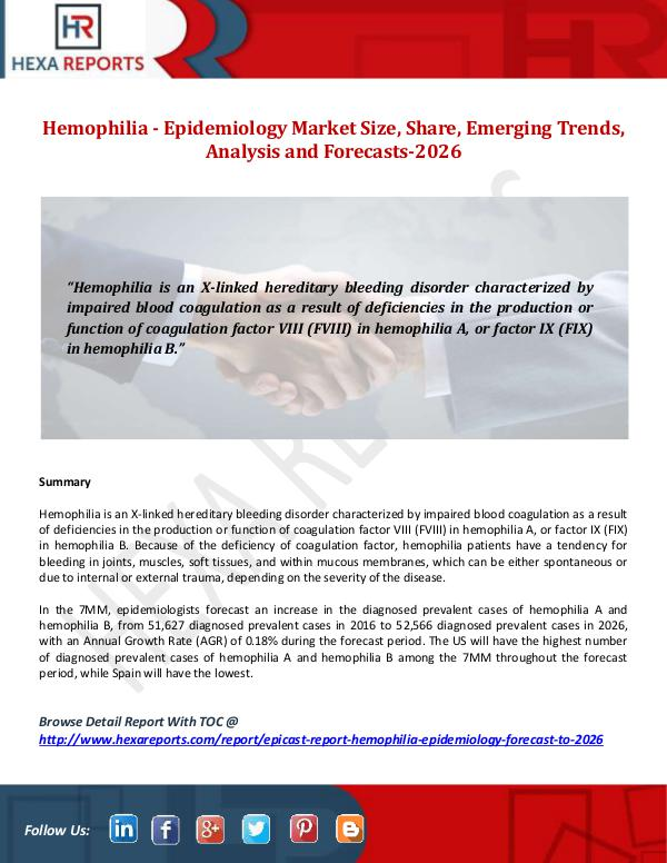 Hemophilia - Epidemiology Market