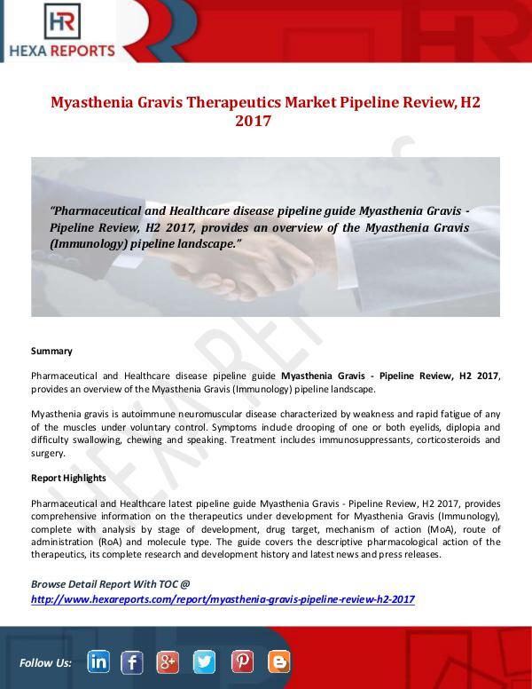 Myasthenia Gravis Market Pipeline Review, H2 2017