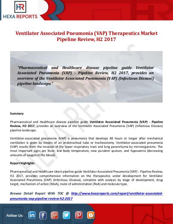 Ventilator Associated Pneumonia (VAP Market Pipeli