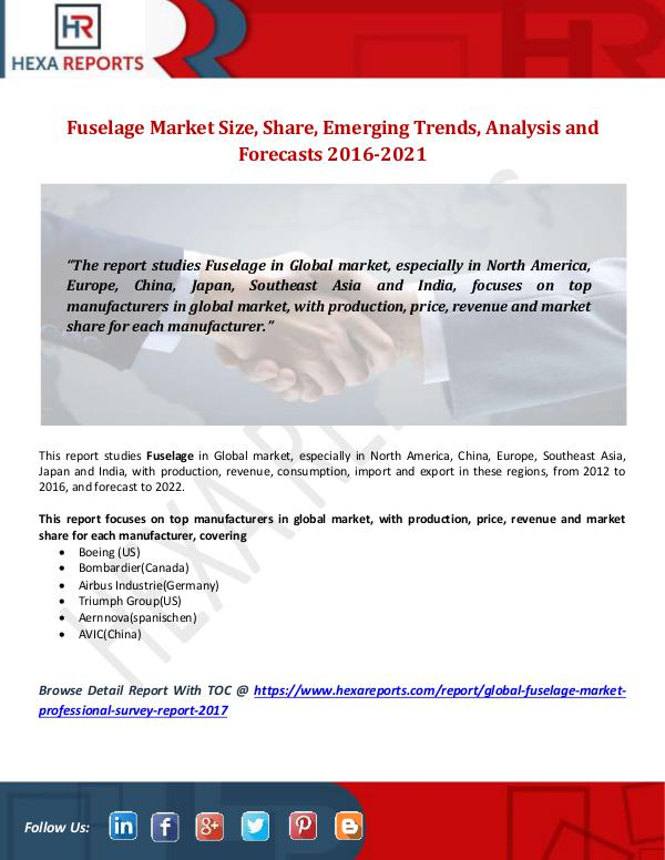 Fuselage Market Size, Share, Emerging Trends, Anal