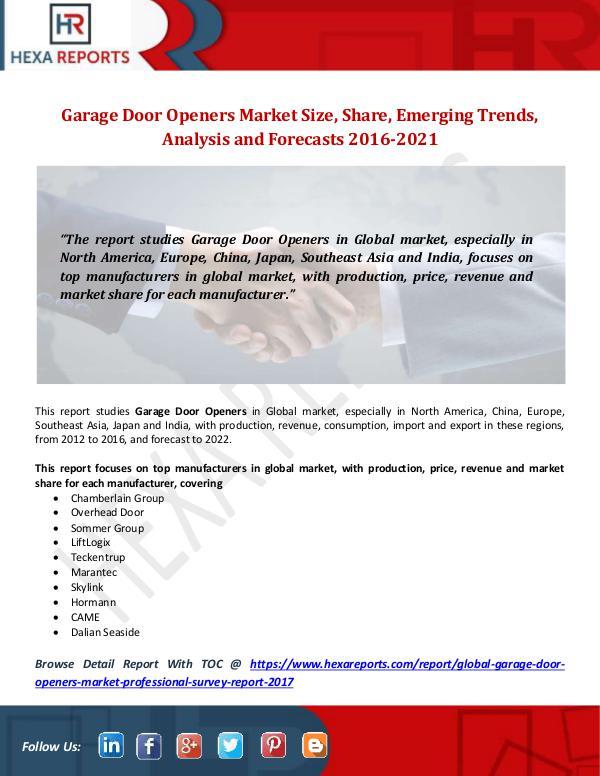 Garage Door Openers Market Size, Share, Emerging T