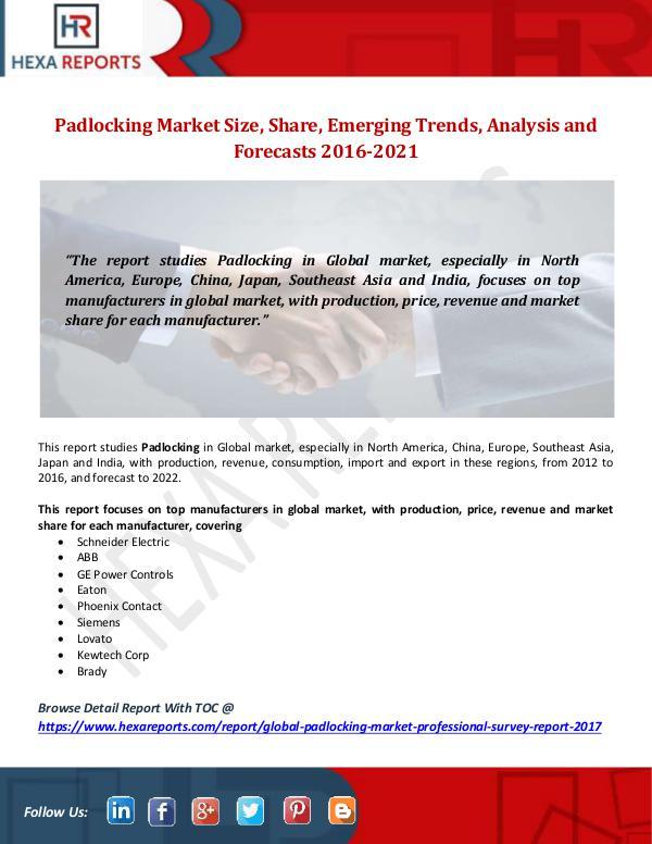 Padlocking Market Size, Share, Emerging Trends, An