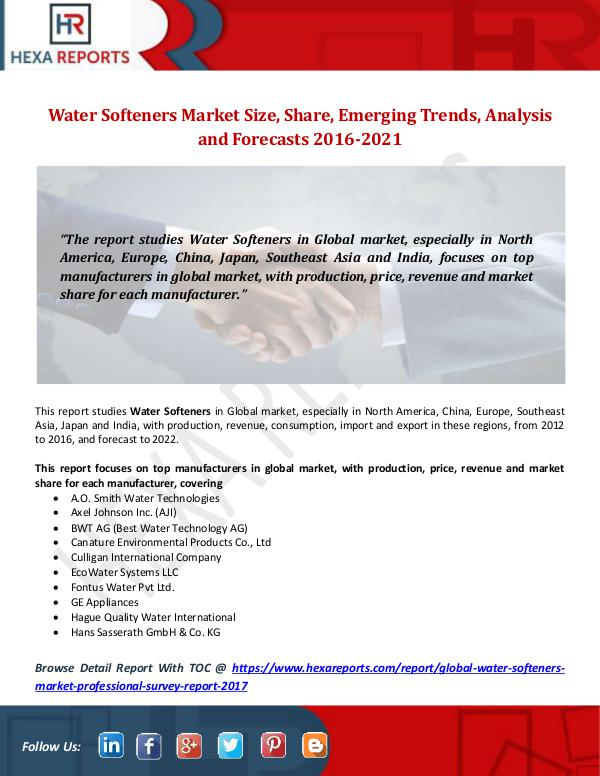 Water Softeners Market Size, Share, Emerging Trend