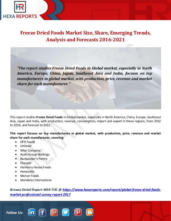 Freeze Dried Foods Market  Size, Share, Emerging T