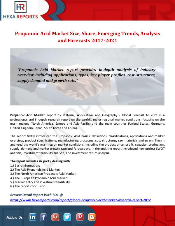 Hexa Reports Propanoic Acid Market Size, Share, Emerging Trends