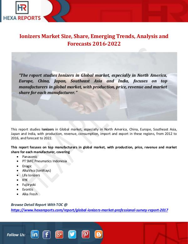 Ionizers Market Size, Share, Emerging Trends, Anal