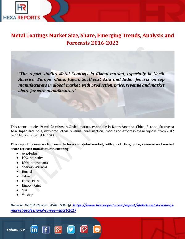 Metal Coatings Market Size, Share, Emerging Trends