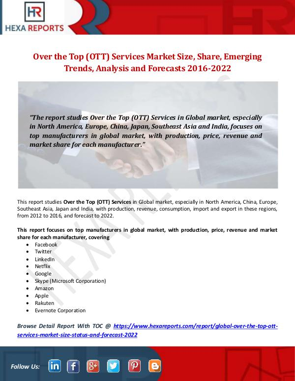 Over the Top (OTT) Services Market Size, Share, Em