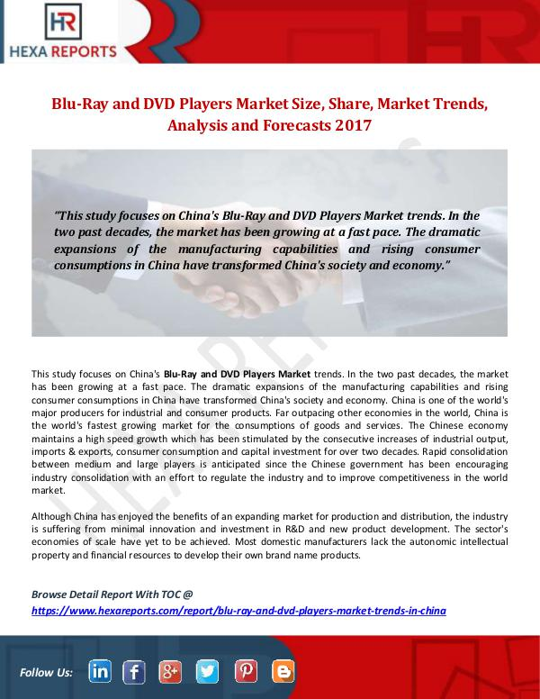 Blu-Ray and DVD Players Market Size, Share, Market