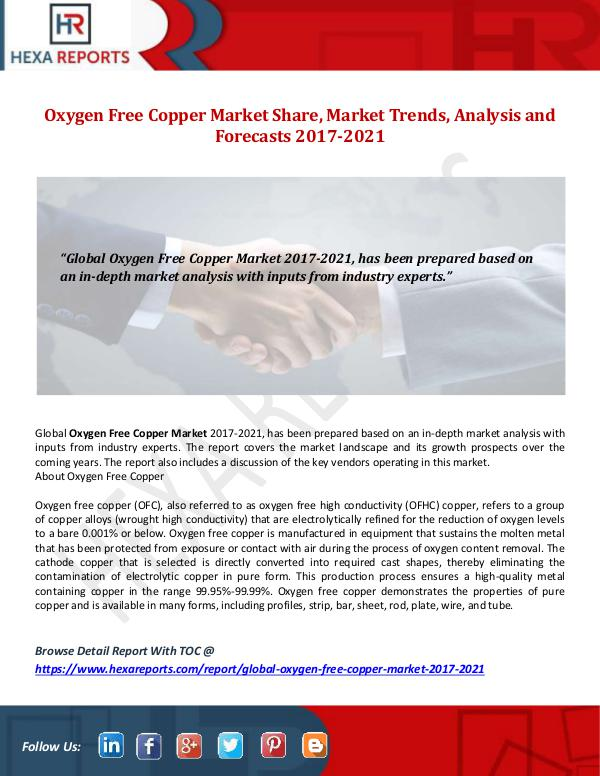 Oxygen Free Copper Market Share, Market Trends, An