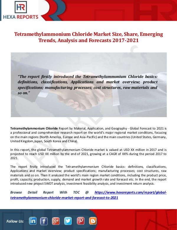 Tetramethylammonium Chloride Market Size, Share, E