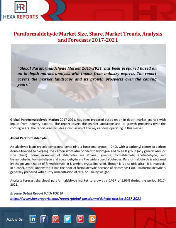 Paraformaldehyde Market Size, Share, Market Trends