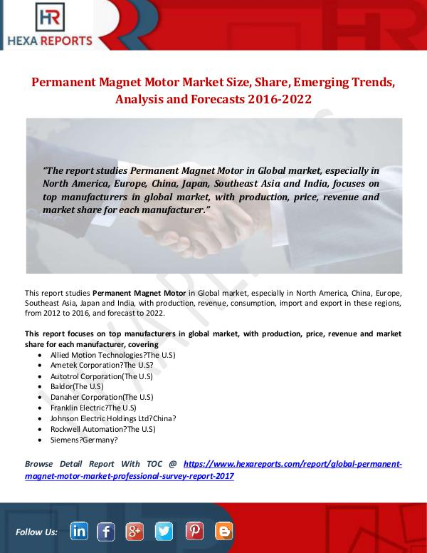 Permanent Magnet Motor Market Size, Share, Emergin