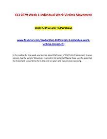 CCJ 2679 Week 1 Individual Work Victims Movement