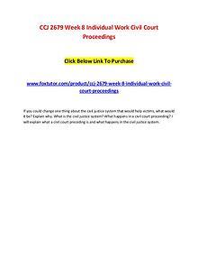 CCJ 2679 Week 8 Individual Work Civil Court Proceedings