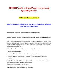CCMH 535 Week 5 Individual Assignment Assessing Special Populations