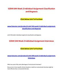 CCMH 544 All Assignments