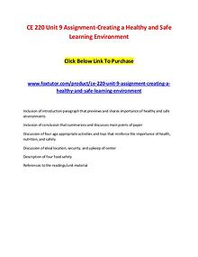 CE 220 Unit 9 Assignment-Creating a Healthy and Safe Learning Environ