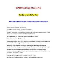 CE 499 Unit 8 Project Lesson Plan