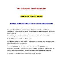 CET 1605 Week 1 Individual Work