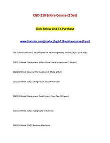 CGD 218 Entire Course (2 Set)