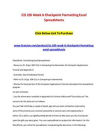 CIS 105 Week 6 Checkpoint Formatting Excel Spreadsheets