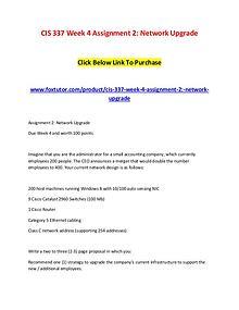 CIS 337 Week 4 Assignment 2 Network Upgrade